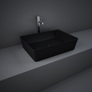 RAK CERAMICS Feeling Umywalka 50x36 cm nablatowa, prostokątna, czarny mat
