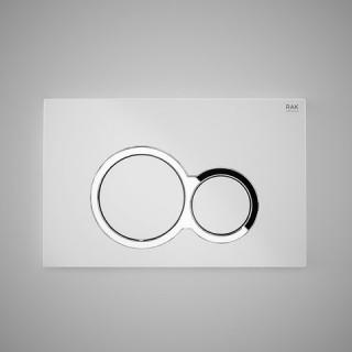 RAK CERAMICS Przycisk spłukujący okrąg z elementami chromowanymi 23,6x15,2x1,2cm, biały matt.