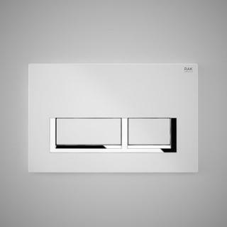 RAK CERAMICS Przycisk spłukujący prostokąt z elementami chromowanymi 23,6x15,2x1,2cm, biały matt.