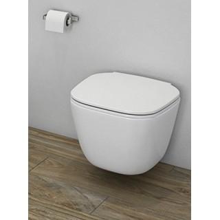 RAK CERAMICS Zestaw One Miska WC podwieszana 52x37 cm, rimless + deska slim wolnoopadająca, biały połysk.