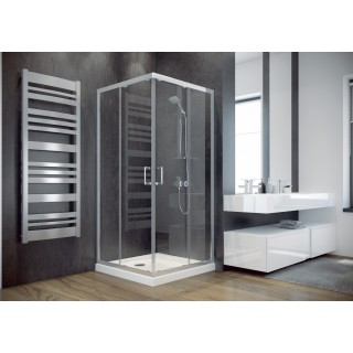 BESCO Modern 80 kabina prysznicowa kwadratowa 80x80x185 cm, szkło mrożone, chrom.