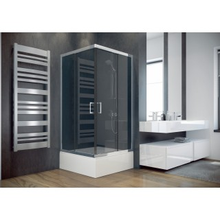 BESCO Modern 90 kabina prysznicowa kwadratowa 90x90x165 cm, szkło grafitowe, chrom.