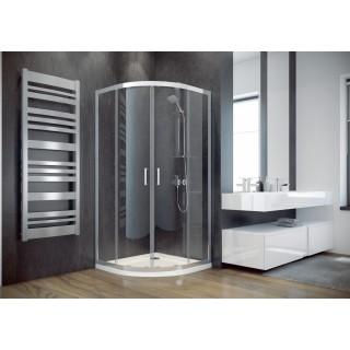 BESCO Modern 80 kabina prysznicowa półokrągła 80x80x185 cm, szkło grafitowe, chrom.