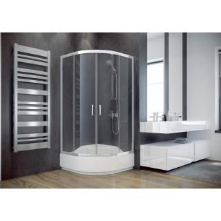 BESCO Modern 80 kabina prysznicowa półokrągła 80x80x165 cm, szkło mrożone, chrom.