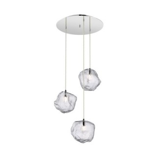ZUMA LINE Lampa wewnętrzna wisząca ROCK, P0488-03D-B5AC, transparentny, srebrny.
