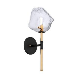 ZUMA LINE Lampa wewnętrzna kinkiet ROCK, W0488-01D-SEAC, czarny, złoty.