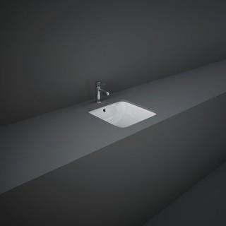 RAK CERAMICS Variant Umywalka 36x36 cm podblatowa, kwadratowa, biały połysk.