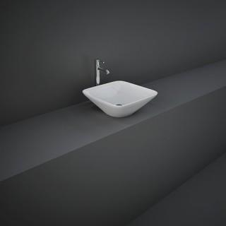 RAK CERAMICS Variant Umywalka 36x36 cm nablatowa, kwadratowa, biały połysk.