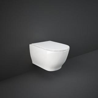 RAK CERAMICS Zestaw Moon Miska WC podwieszana 56x36 cm, rimless, biały połysk + deska WC slim wolnoopadająca.