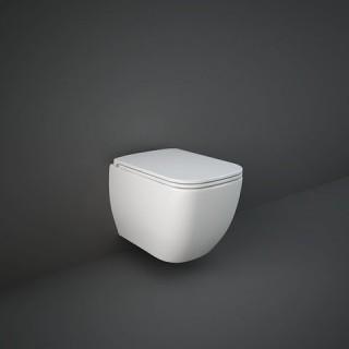 RAK CERAMICS Zestaw Metropolitan Miska WC podwieszana 53x34 cm, rimless, biały połysk + deska WC slim wolnoopadająca.