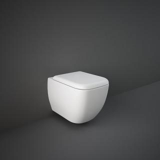 RAK CERAMICS Zestaw Metropolitan Miska WC podwieszana 53x34 cm, rimless, biały połysk + deska WC standardowa bez wolnego opadu.