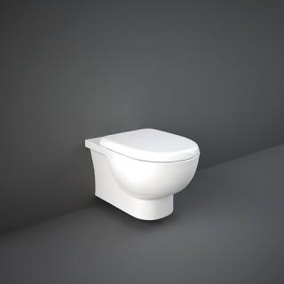 RAK CERAMICS Zestaw Tonique Miska WC podwieszana 55x36 cm, rimless, biały połysk + deska WC standard bez wolnego opadu.