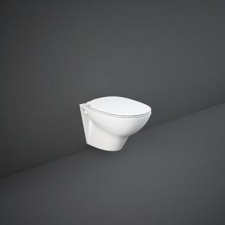 RAK CERAMICS Zestaw Morning Miska WC 52x37 cm podwieszana, rimless, biały połysk + deska WC slim wolnoopadająca.