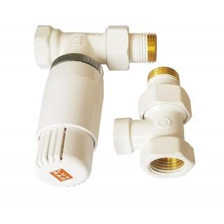 LUX RAD Zawór termostatyczny prosty, biały.