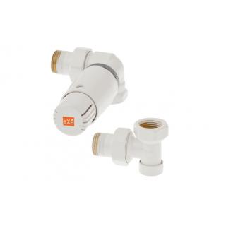 LUX RAD Zawór termostatyczny osiowo lewy - głowica skierowana w prawą stronę, biały.