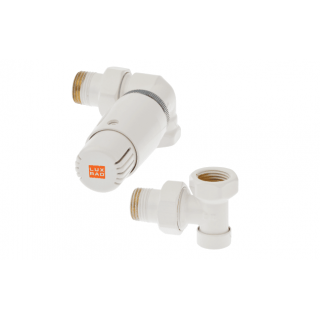 LUX RAD Zawór termostatyczny osiowo prawy - głowica skierowana w lewą stronę, biały.