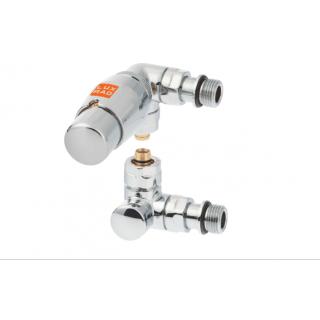LUX RAD Zawór termostatyczny osiowo prawy - głowica skierowana w lewą stronę, chrom.