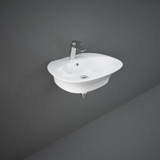 RAK CERAMICS Sensation Umywalka 55x46 cm wisząca z otworem na baterię, biały połysk