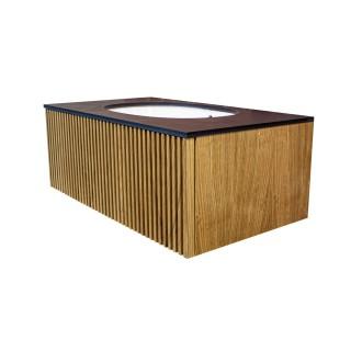 Wooden Szafka wisząca z umywalką podblatową, 50x40x50cm