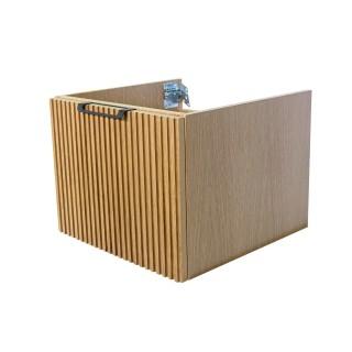 Wooden Szafka wisząca z umywalką podblatową, 80x40x50cm