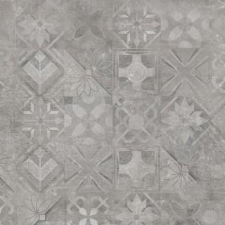 CERRAD Softcement Silver poler gres rektyfikowany, dekor, patchwork 59,7x59,7x0,8 cm Gat.1