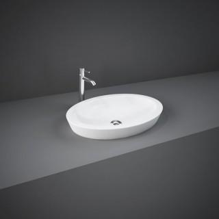 RAK CERAMICS Resort Umywalka 58x37 cm nablatowa/częściowo wpuszczana, owalna, biały połysk