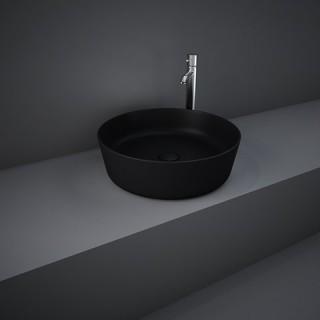 RAK CERAMICS Feeling Umywalka 42 cm nablatowa, okrągła, czarny mat